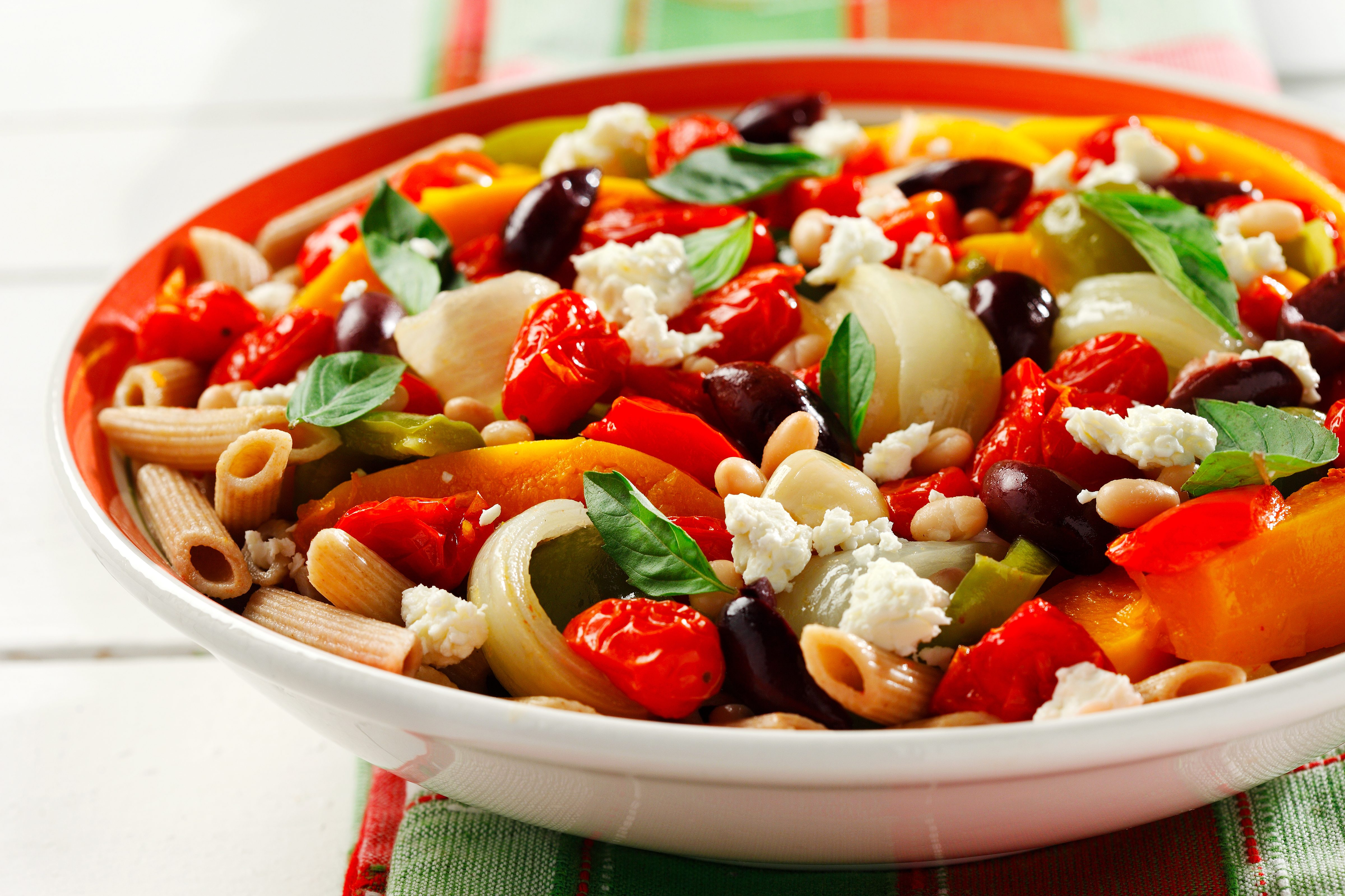 Roasted Veggies with Pasta and Feta