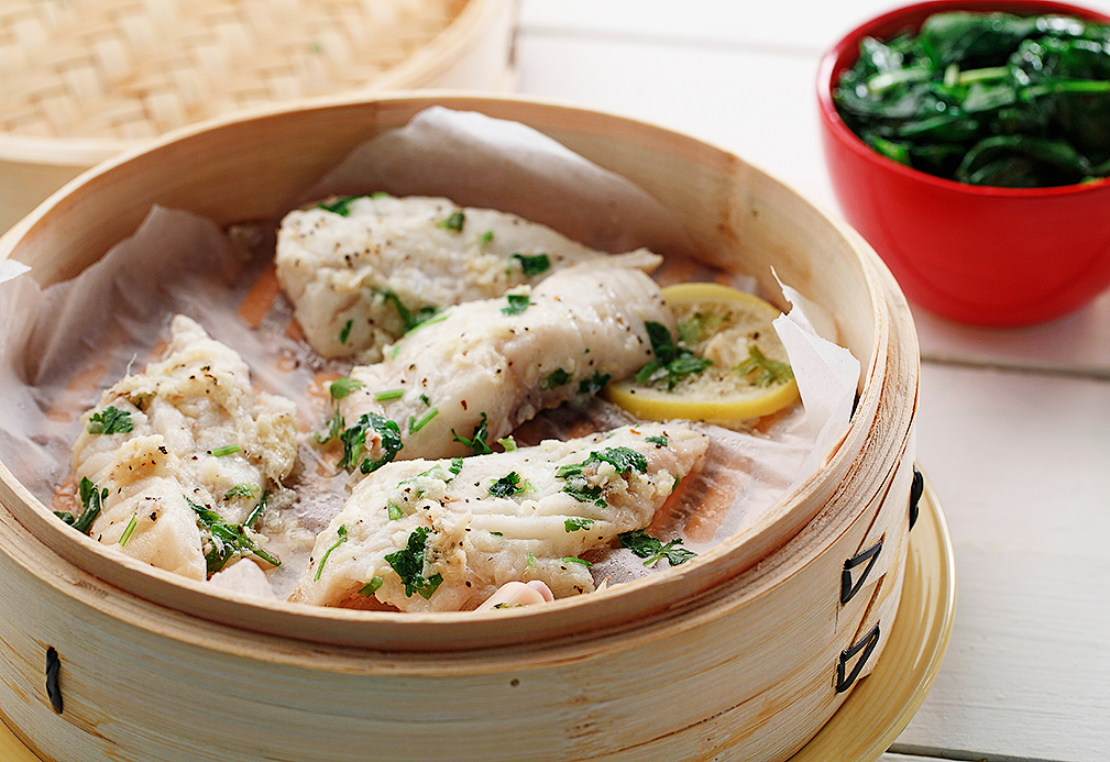 Lemongrass Ginger Steamed White Fish with Sautéed Spinach