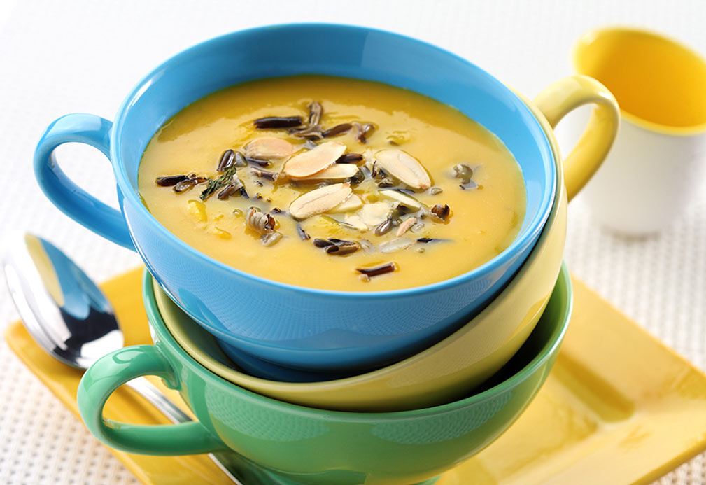 Butternut Squash and Apple Soup with Wild Rice and Toasted Almonds