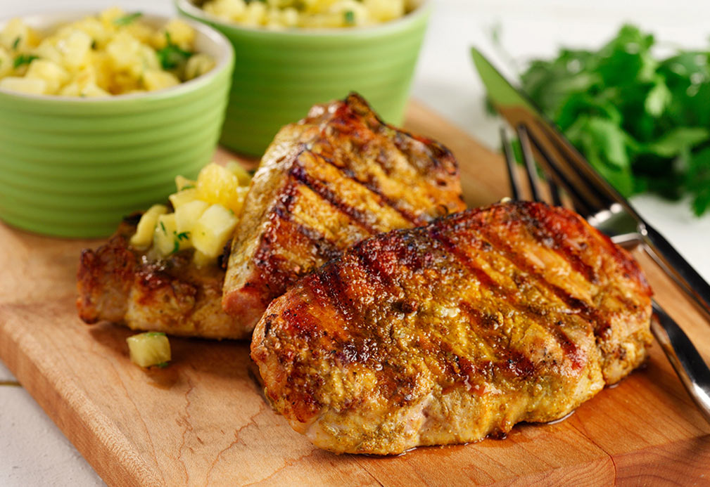Caribbean Grilled Pork with Tropical Salsa