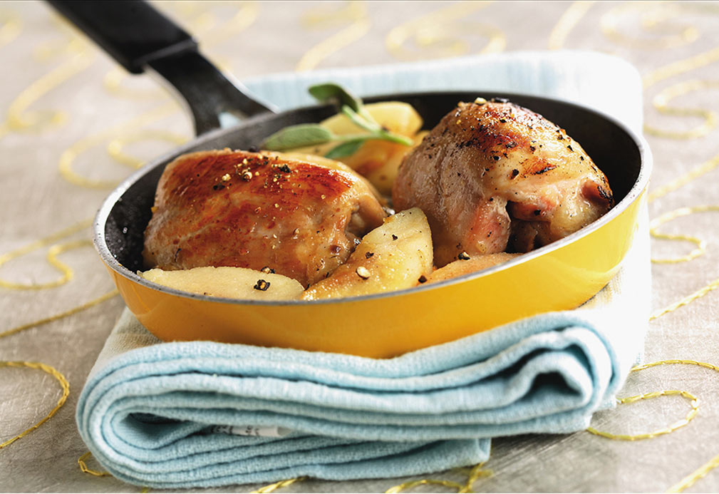 Chicken Thighs With Honeyed Apples and Fresh Sage