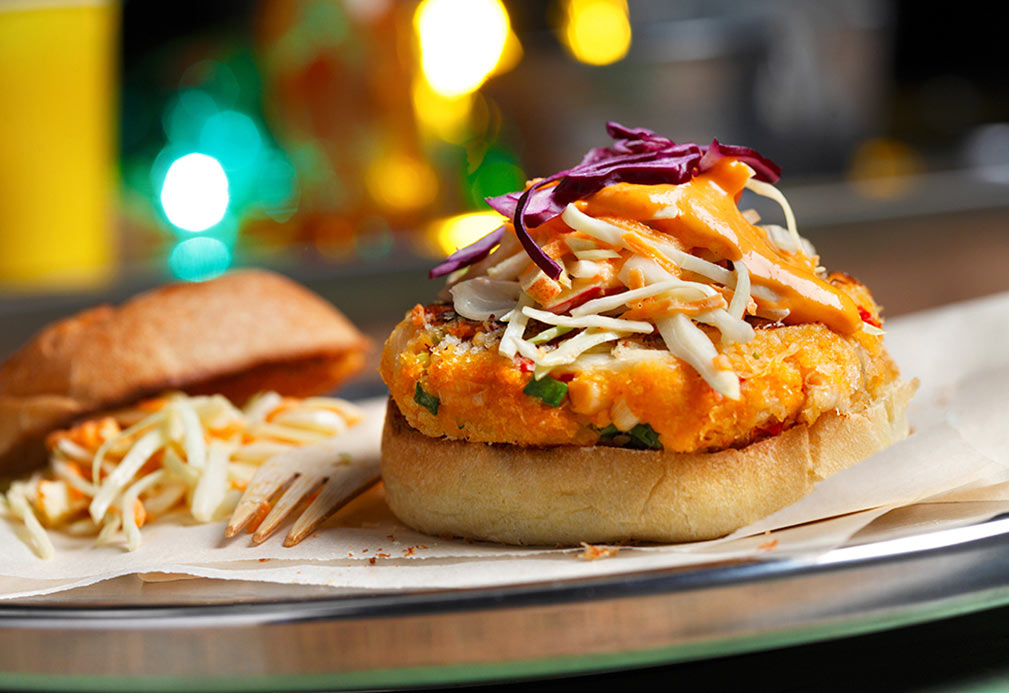 Crab Cake Sliders with Creamy Apple Coleslaw