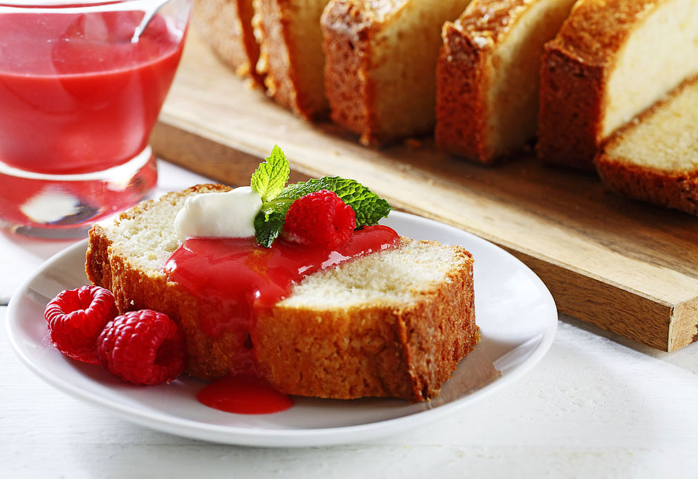 Lemon Vanilla Bean Canola Oil Pound Cake With Raspberry Sauce