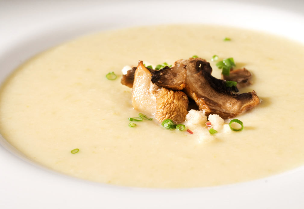 Parsnip Vichyssoise with Apple Horseradish Oil and Shiitake Chips