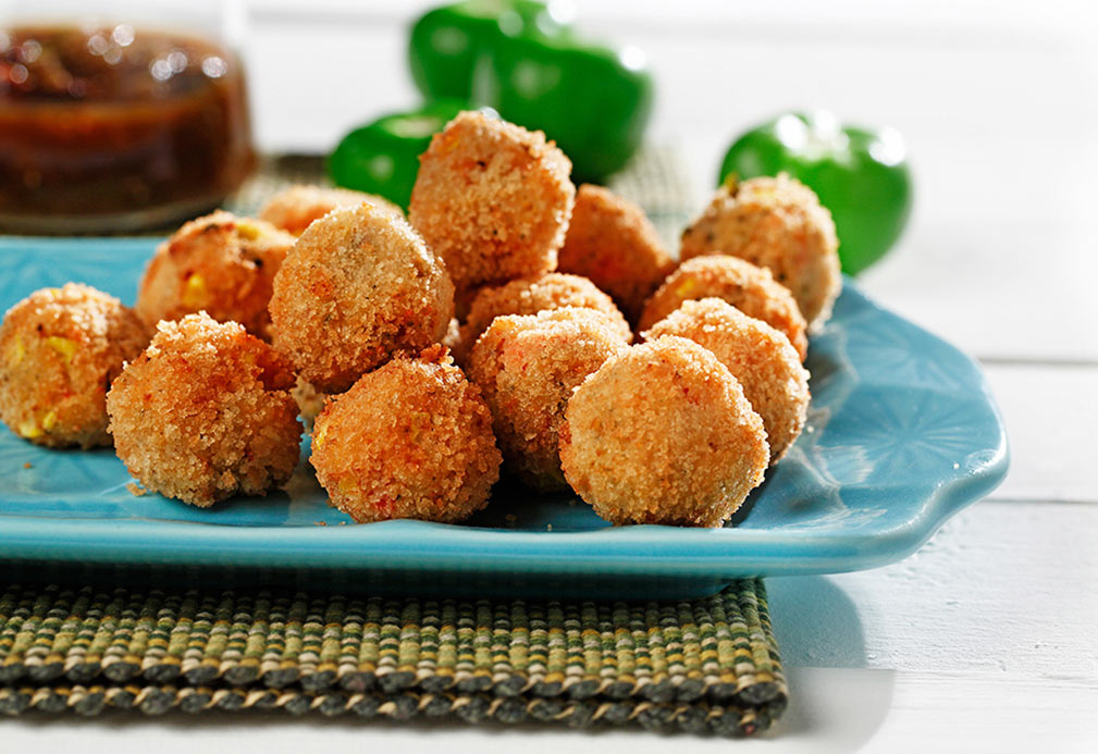 Ricotta Corn Fritters with Tomatillo Pepper Sauce