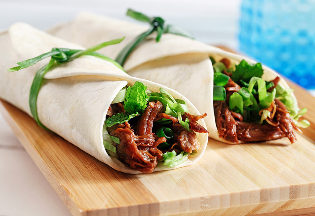 Slow Cooked, Asian Spiced Pulled Pork Wraps