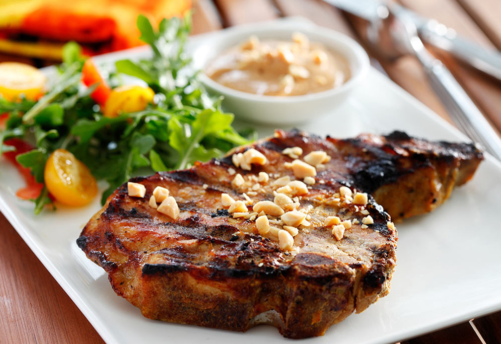 South Asian Pork Chops with Peanut Satay Sauce