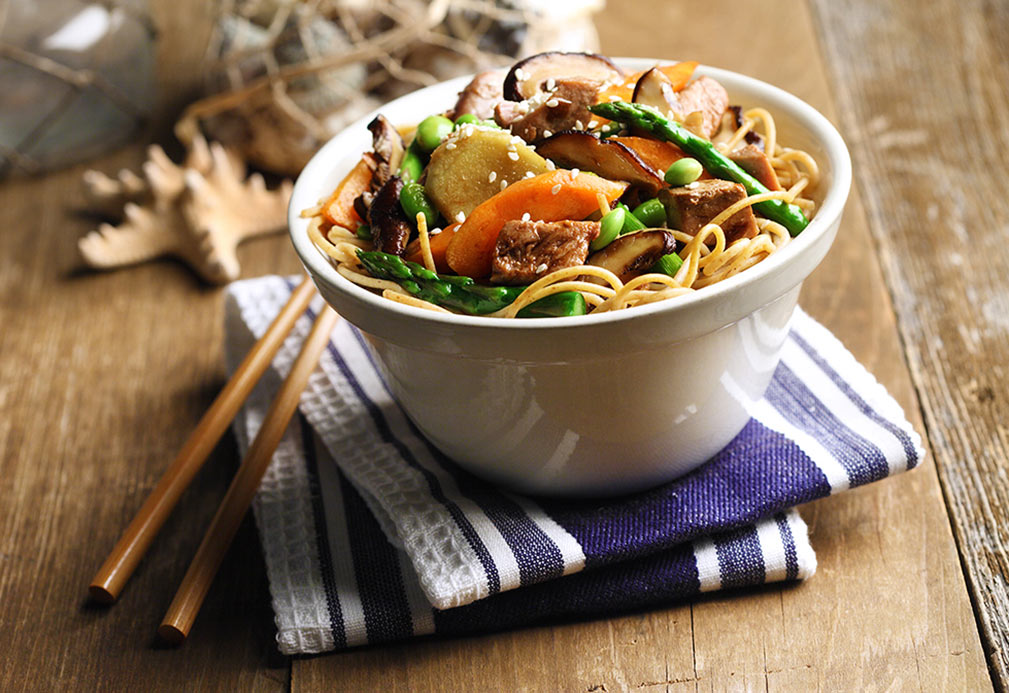 Tuna Stir-fry Over Whole Wheat Vermicelli