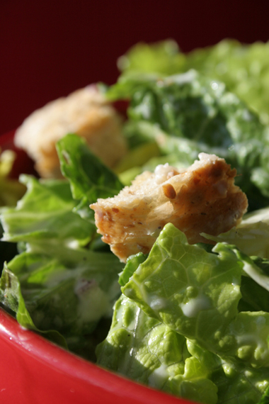 Caesar Style Salad With Whole Wheat Croutons