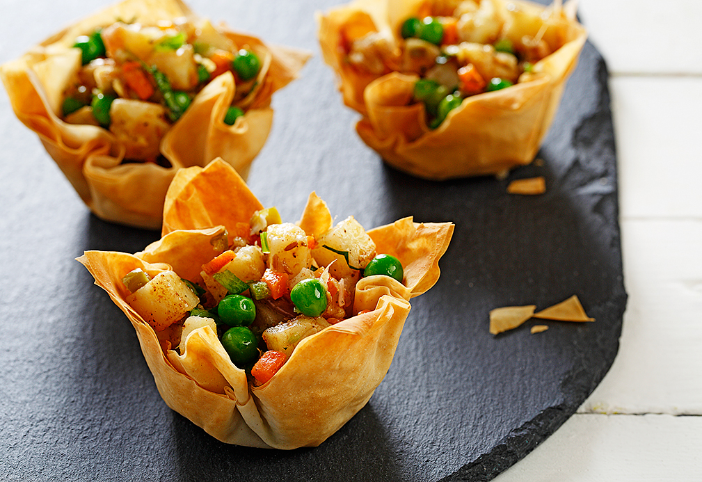 Chili Spiked Potatoes in Phyllo Cups