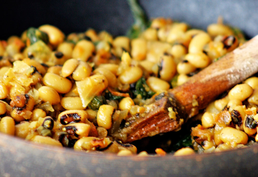 Black-eyed Peas with Mustard Greens