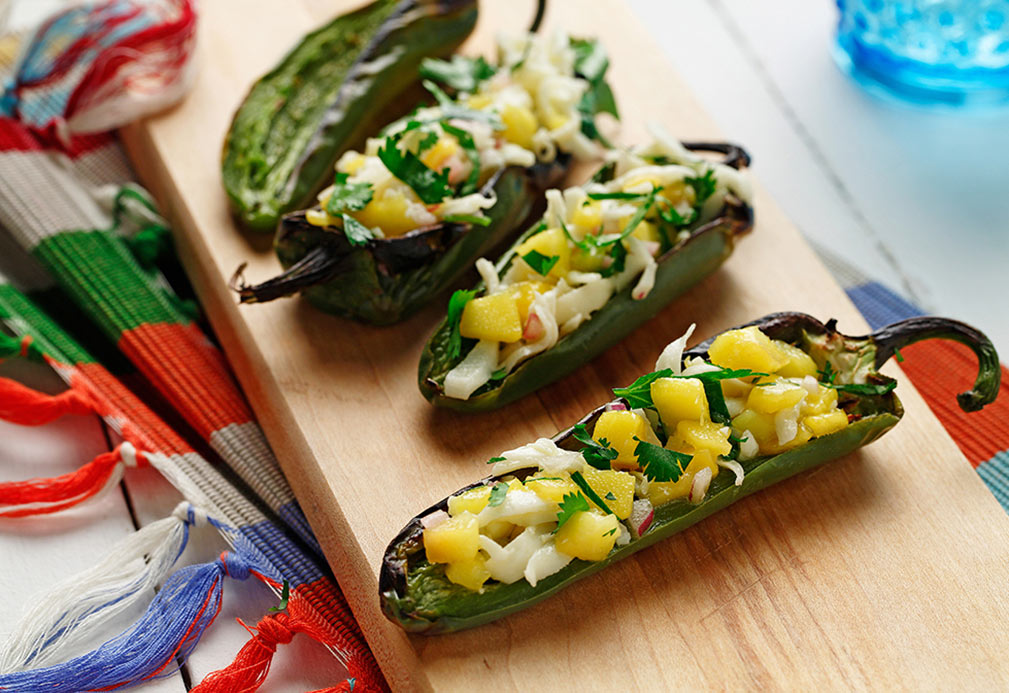 Jalapeño Chiles Stuffed with Panela Cheese and Mango Pico de Gallo