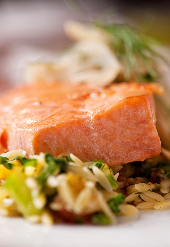 Salmon Confit over Lemon Spinach And Heirloom Tomato Orzo With Fennel, Parsley And Onion Compote