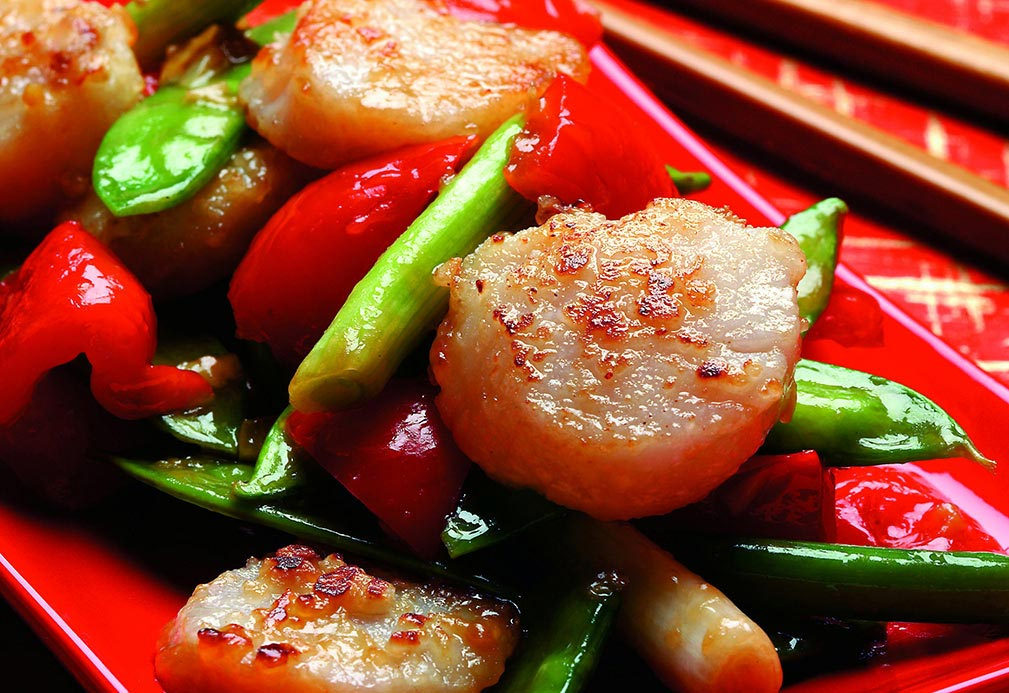 Scallops with Snow Peas