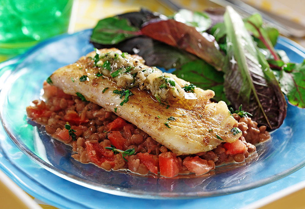 White Fish with Roasted Garlic and Lentil Mash