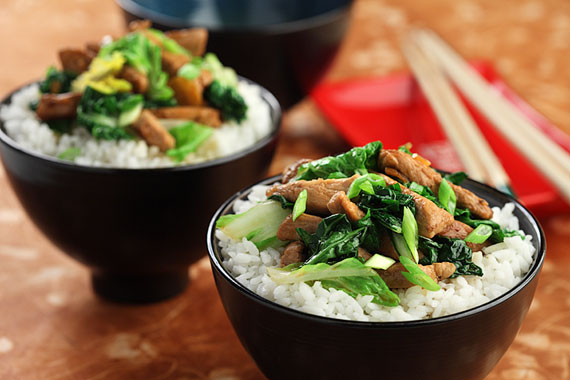 亚洲青菜炒猪肉