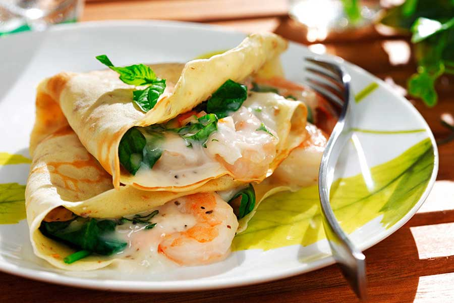 crepes seafood shrimp Ellie Krieger made with canola oil