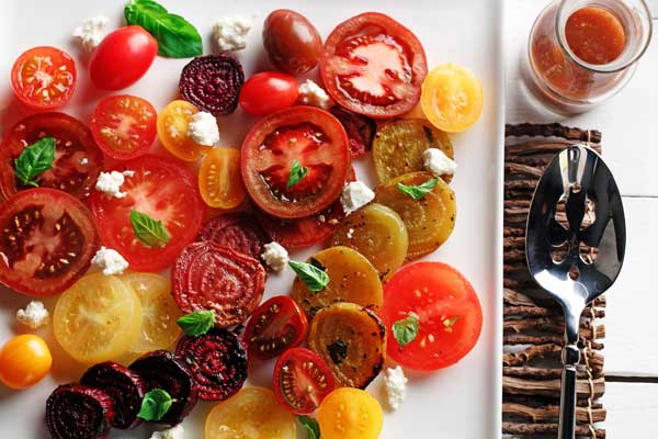 Roasted Beet and Tomato salad made with canola oil recipes summer entertaining