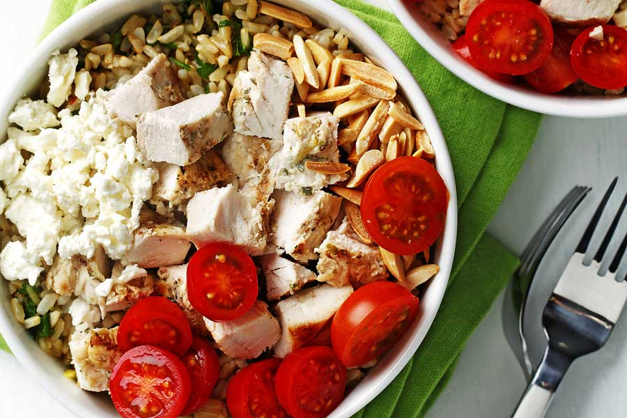 chicken feta grain bowls powerbowl made with canola oil