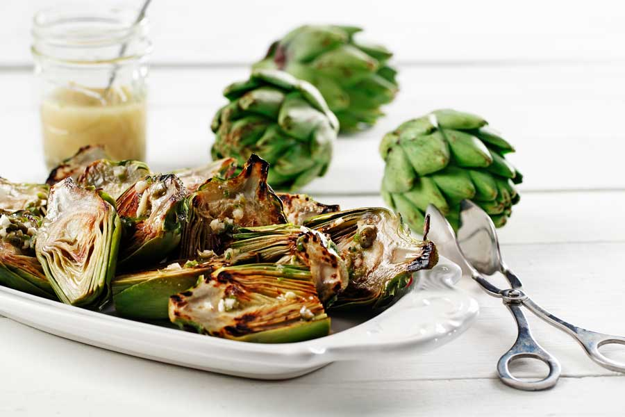 grilled baby artichoke lemon caper vinaigrette made with canola oil