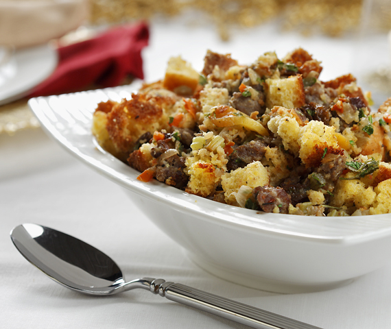 Cornbread and Dried Fruit Dressing recipe made with canola oil