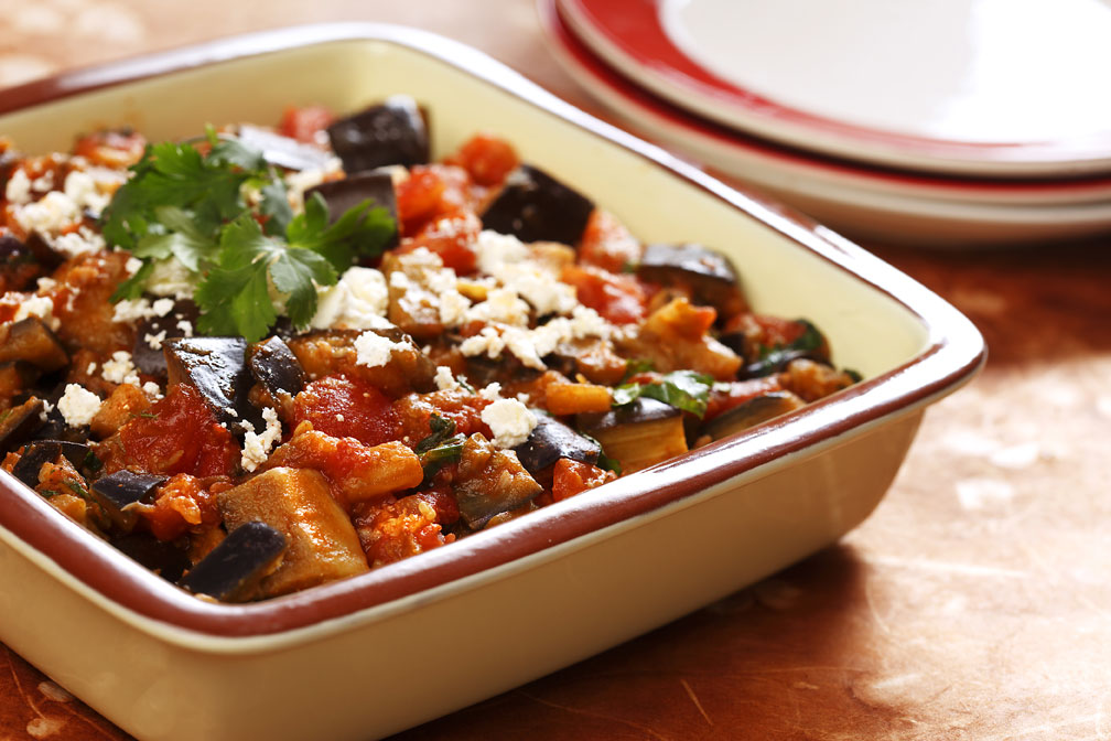 Moroccan Eggplant with Tomatoes recipe made with canola oil