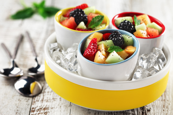 Three Citrus Mint Dressing on Seasonal Fresh Fruit made with canola oil