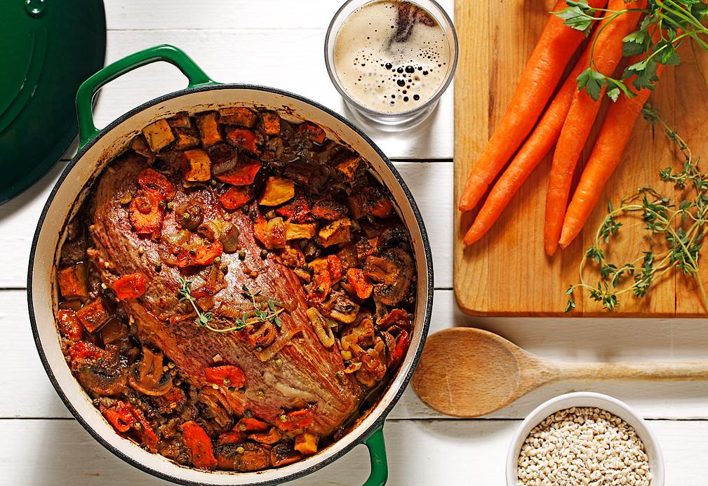 Cuete en trozo con cebada y verduras
