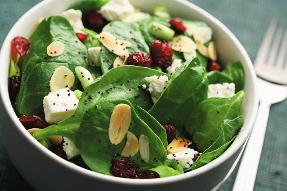 Cranberry Spinach Salad with Poppy Seed Dressing recipe made with canola oil