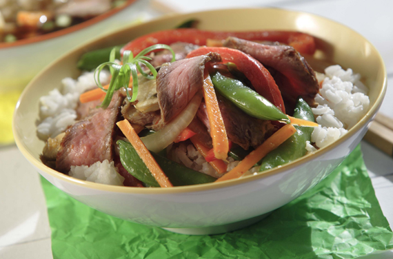 Ginger Beef Stir Fry with Rice