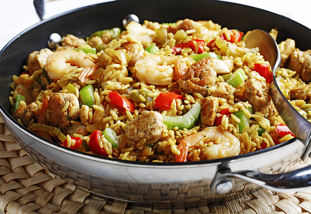 Jambalaya with Smoked Turkey Sausage and Chicken recipe made with canola oil in partnership with the American Diabetes Association