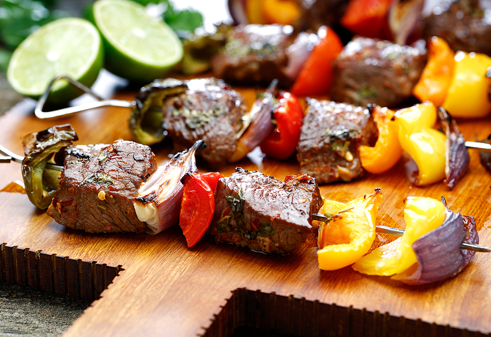 Latin Fusion Sirloin Skewers recipe made with canola oil by Manuel Villacorta