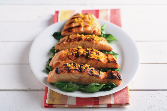 Orange Glazed Salmon over Sauteed Spinach recipe made with canola oil by Roberta L. Duyff