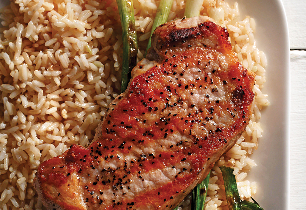 Pork Chops With Dijon Scallion Rice recipe made with canola oil by Nancy Hughes