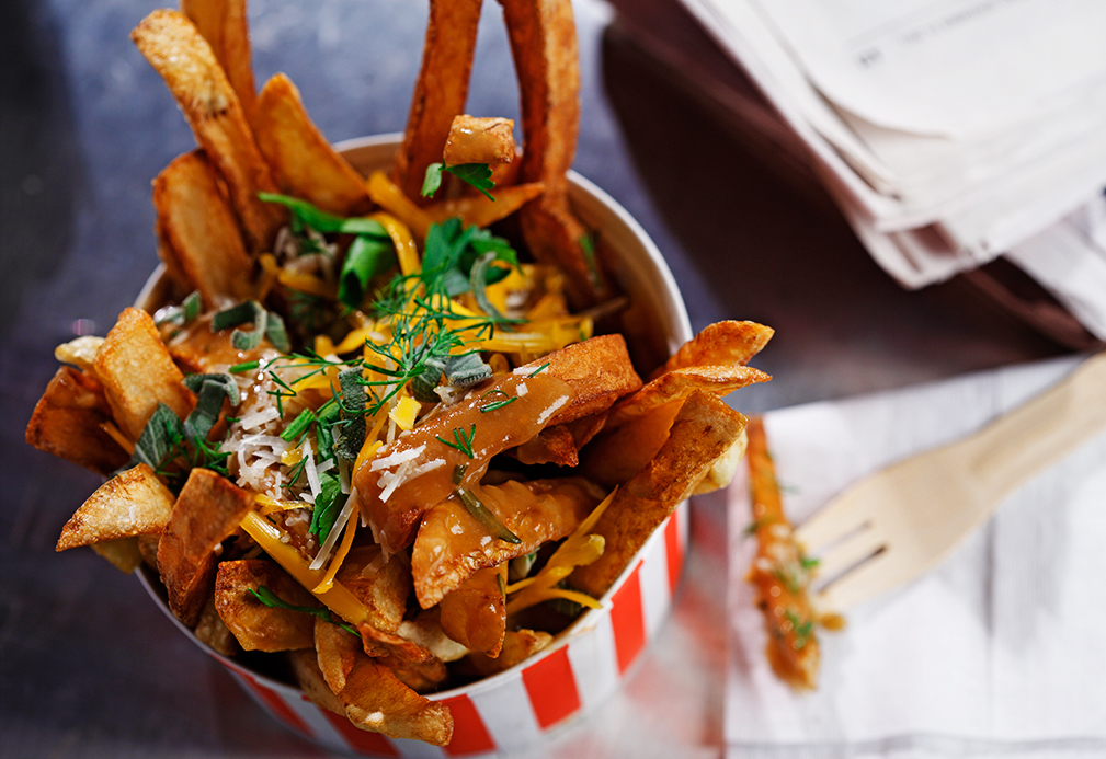 Cheddar Parmesan Poutine recipe made with canola oil by Josh Henderson
