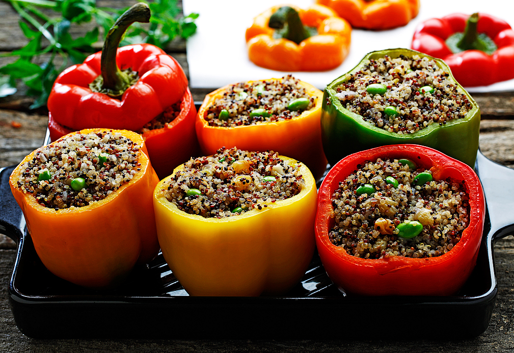Quinoa Stuffed Tri-Colored Bell Peppers
