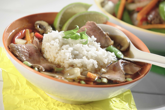 Spicy Ginger Beef & Rice Soup with Lime recipe made with canola oil