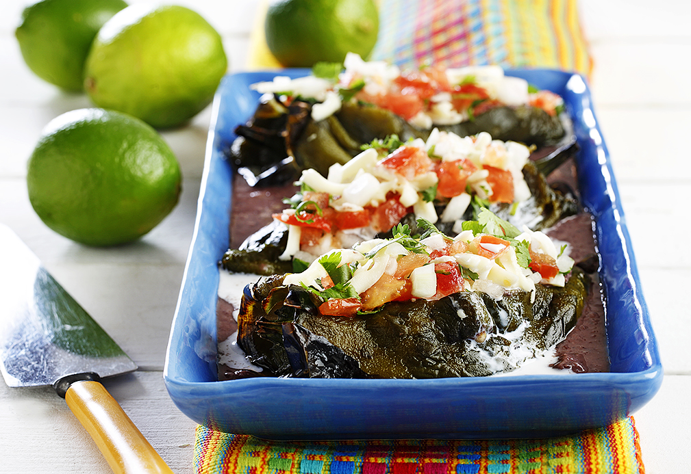Stuffed Poblano Peppers and Black Bean Sauce