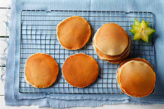 Golden Pancakes recipe made with canola oil