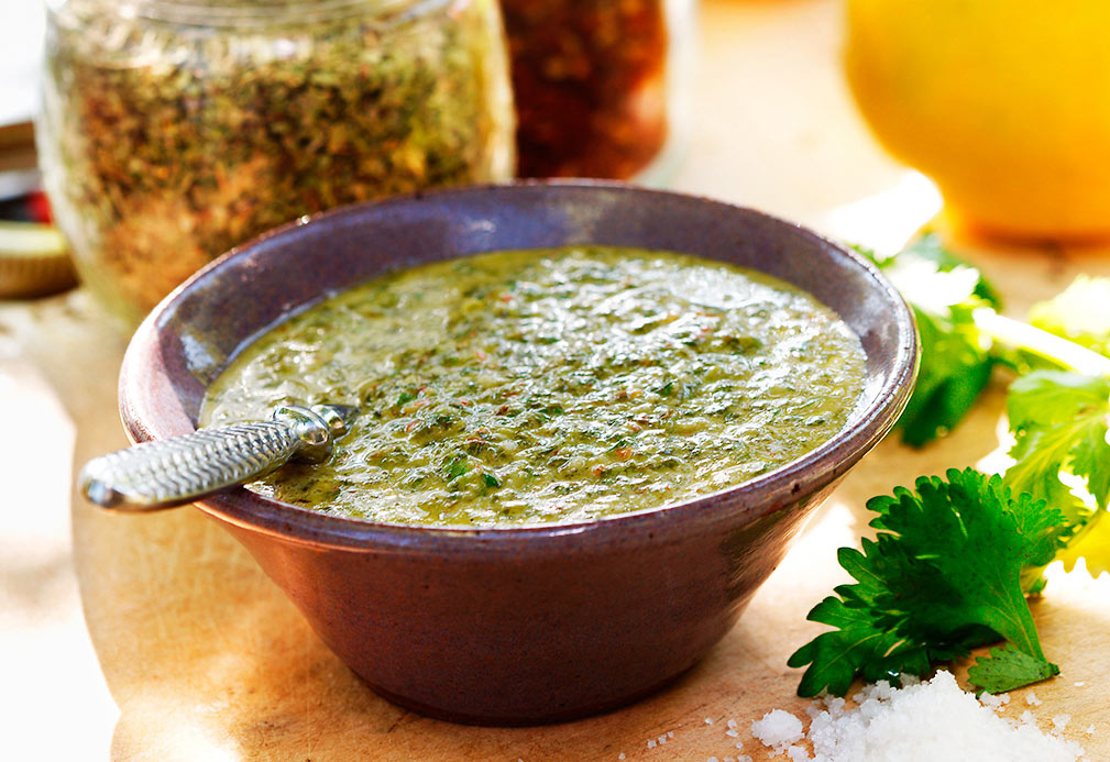 Cilantro Chimichurri Sauce recipe made with canola oil by Kathleen Bruno