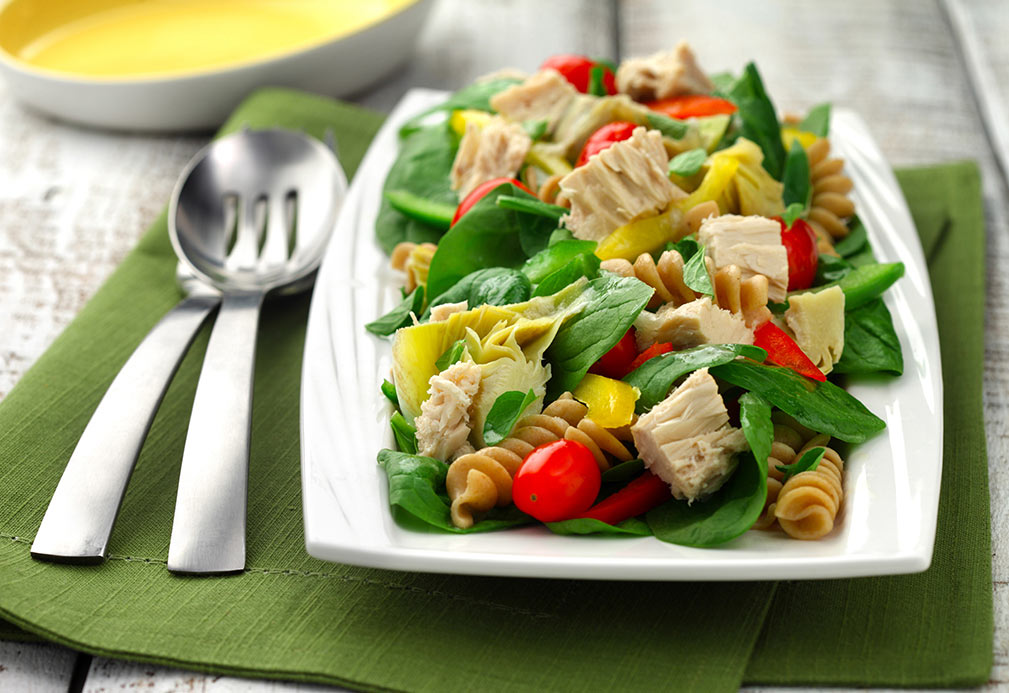 Artichoke and Spinach Rotini Salad with Tuna recipe made with canola oil