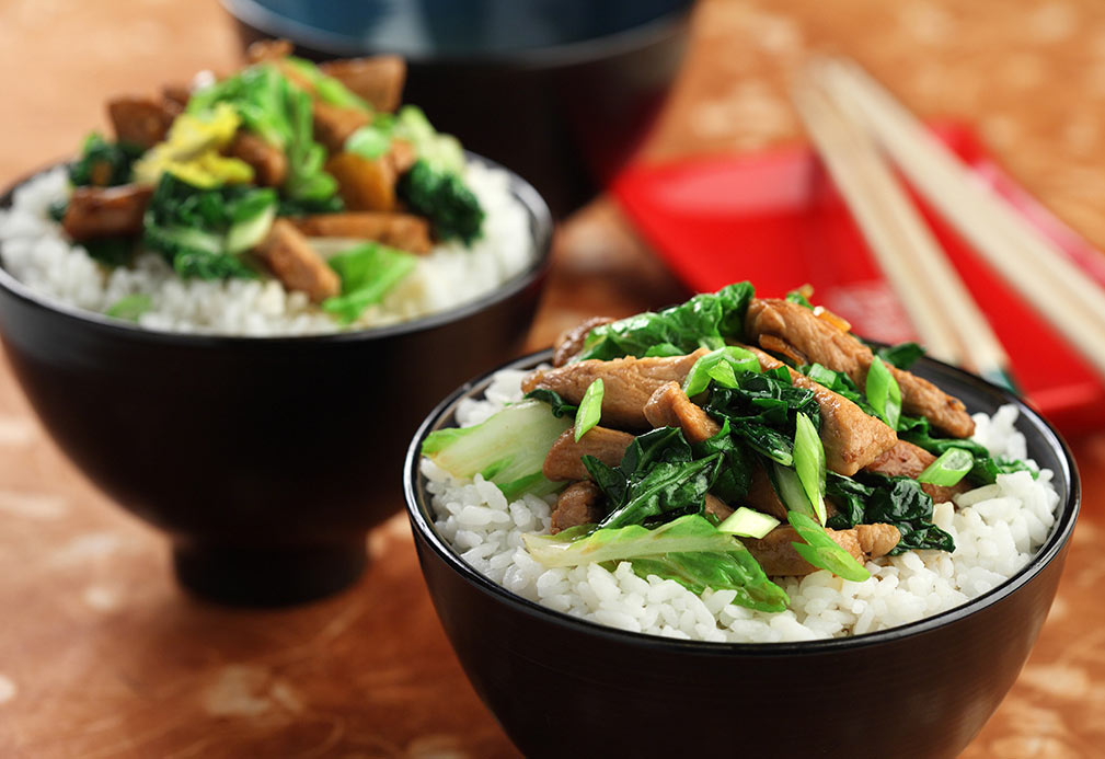 Asian Greens with Pork recipe made with canola oil