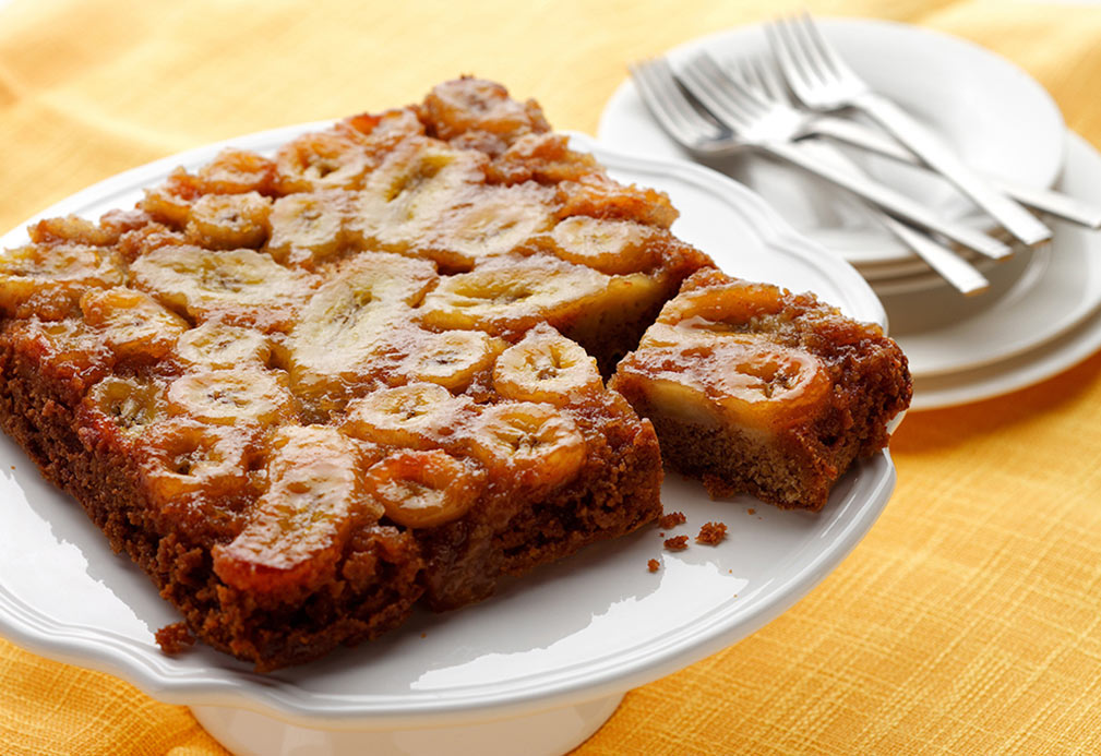 Banana Upside Down Cake recipe made with canola oil
