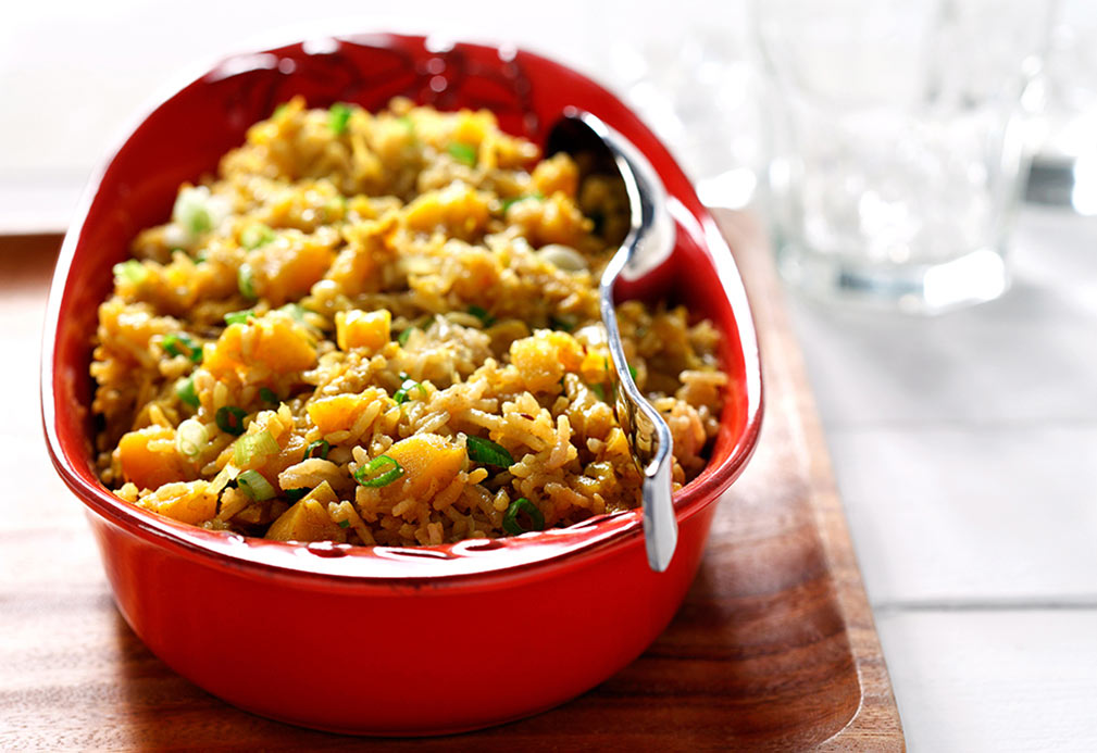 Basmati Rice with Cumin Flavored Squash recipe made with canola oil by Raghavan Iyer