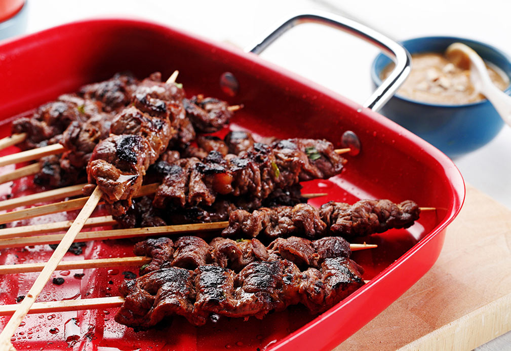 Beef Satay with Peanut Sauce recipe made with canola oil by Julie Van Rosendaal