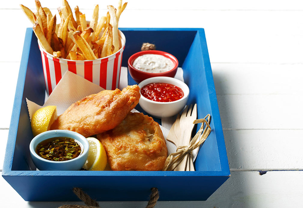 Beer Battered Fish and Chips recipe made with canola oil