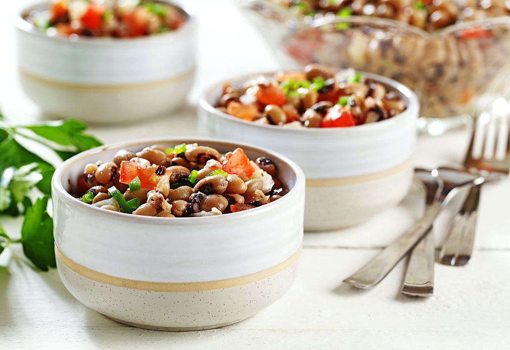Black-Eyed Peas with Jalapeno and Tomatoes recipe made with canola oil in partnership with the American Diabetes Association