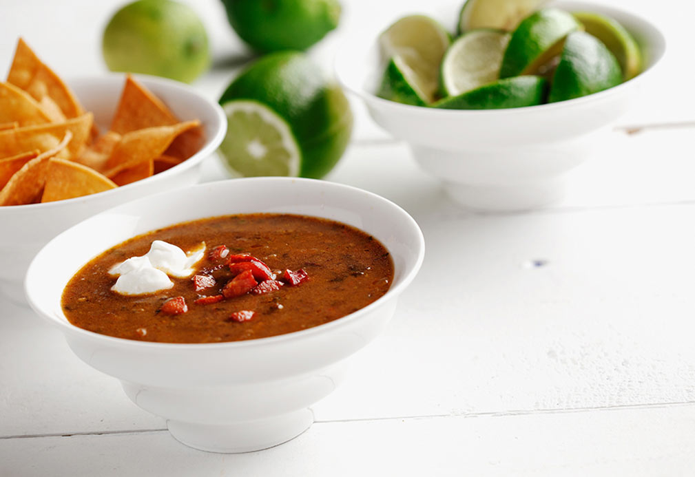 Black Bean and Chorizo Soup recipe made with canola oil