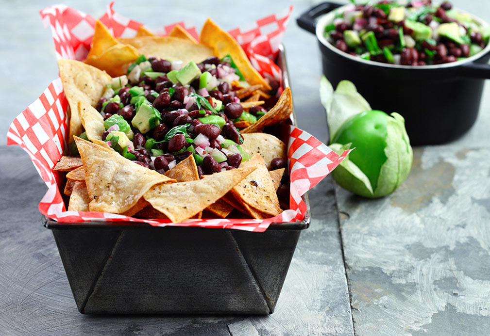 Black Bean Avocado Salsa with Home Baked Tortilla Chips