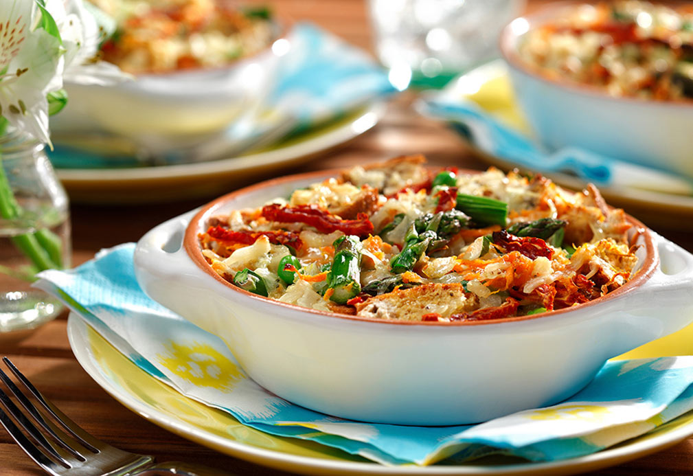 Breakfast Strata Primavera recipe made with canola oil by Ellie Krieger